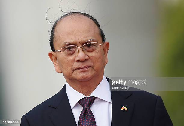 Myanmar President Thein Sein arrives at the Chancellery to meet with German Chancellor Angela Merkel on September 3 2014 in Berlin Germany President...