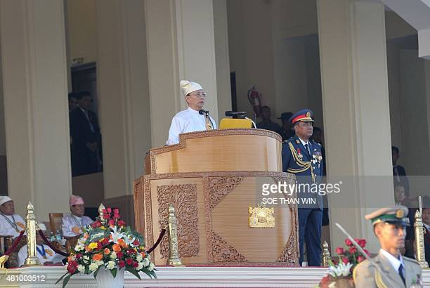 Myanmar President Thein Sein delivers a speech during the 67th Myanmar Independence Day Grand Military Review parade in Naypyidaw on January 4 2015...