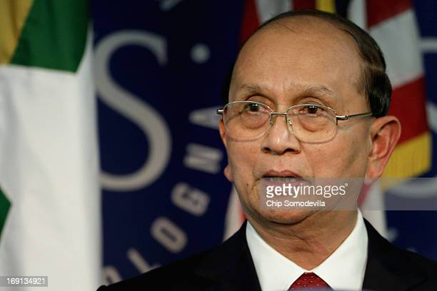 Myanmar President Thein Sein delivers remarks at the School of Advanced International Studies at The Johns Hopkins University May 20 2013 in...