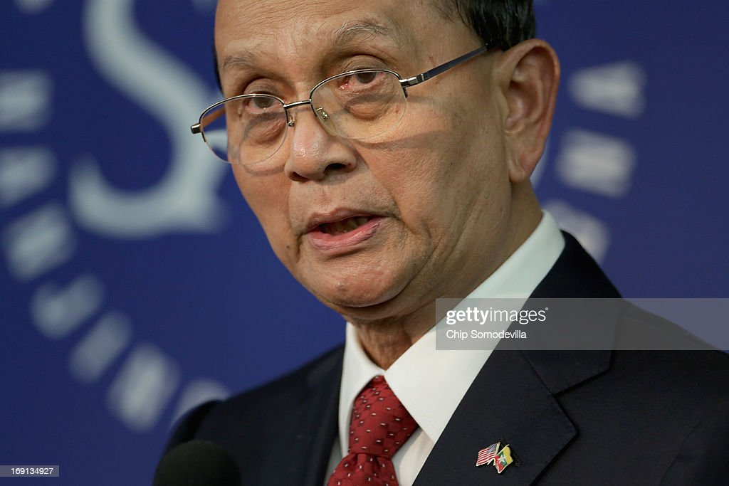 Myanmar President <a gi-track='captionPersonalityLinkClicked' href=/galleries/search?phrase=Thein+Sein&family=editorial&specificpeople=787536 ng-click='$event.stopPropagation()'>Thein Sein</a> delivers remarks at the School of Advanced International Studies at The Johns Hopkins University May 20, 2013 in Washington, DC. Sein, who has helped push his country away from brutal junta rule and toward political reforms, is the first leader from Myanmar to visit the White House in almost 50 years.