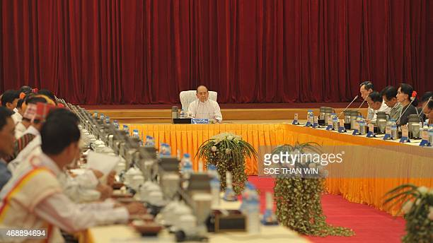 Myanmar President Thein Sein presides over a meeting in Naypyidaw on April 8 2015 Myanmar's president hosted rare talks with influential allies and...