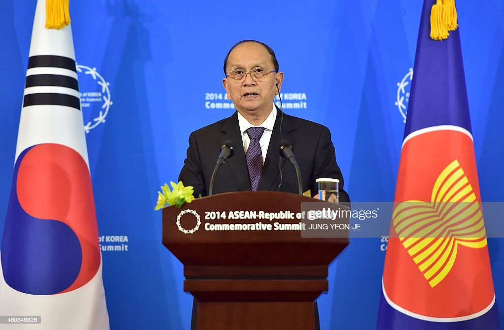 Myanmar President <a gi-track='captionPersonalityLinkClicked' href=/galleries/search?phrase=Thein+Sein&family=editorial&specificpeople=787536 ng-click='$event.stopPropagation()'>Thein Sein</a> speaks during a joint press conference with South Korean President Park Geun-Hye after the ASEAN-Republic of Korea Commemorative Summit in Busan on December 12, 2014. Leaders from a group of 10 Southeast Asian countries are in Busan to attend a two-day special summit to be hosted by South Korean President Park Geun-Hye. AFP PHOTO / POOL / JUNG YEON-JE