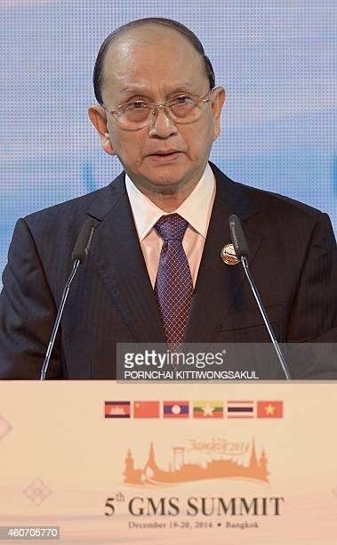 Myanmar President Thein Sein speaks during the opening ceremony of the 5th Summit of the Greater Mekong Subregion Economic Cooperation Program in...