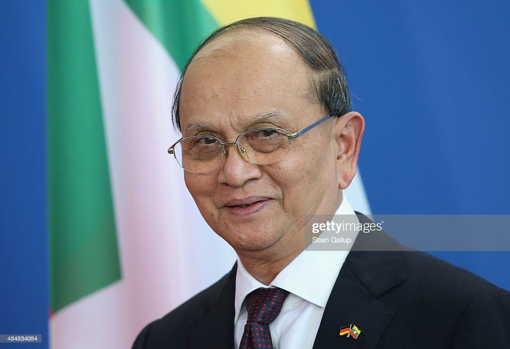 Myanmar President <a gi-track='captionPersonalityLinkClicked' href=/galleries/search?phrase=Thein+Sein&family=editorial&specificpeople=787536 ng-click='$event.stopPropagation()'>Thein Sein</a> speaks to the media with German Chancellor Angela Merkel (not pictured) following bilateral talks at the Chancellery on September 3, 2014 in Berlin, Germany. President <a gi-track='captionPersonalityLinkClicked' href=/galleries/search?phrase=Thein+Sein&family=editorial&specificpeople=787536 ng-click='$event.stopPropagation()'>Thein Sein</a> is on a two-day visit to Germany, during which he will also meet with German President Gauck and Bundestag President Lammert.