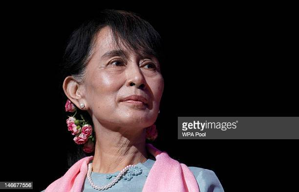 Myanmar prodemocracy leader Aung San Suu Kyi speaks during a meeting with members of the Myanmar community at the Royal Festival Hall on June 22 2012...