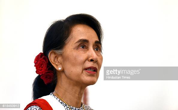 Myanmar State Counsellor Aung San Suu Kyi at Myanmar Embassy on October 18 2016 in New Delhi India The visiting leader is reported to have discussed...