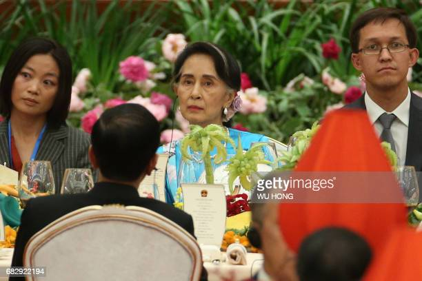 Myanmar State Counsellor Aung San Suu Kyi attends a welcome banquet for the Belt and Road Forum at the Great Hall of the People in Beijing on May 14...