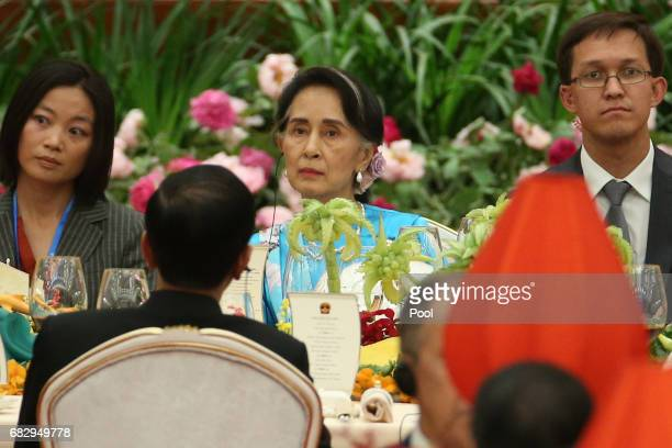 Myanmar State Counsellor Aung San Suu Kyi attends a welcome banquet for the Belt and Road Forum at the Great Hall of the People in Beijing China 14...