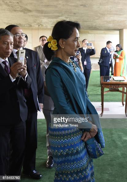 Myanmar State Counsellor Aung San Suu Kyi during her visit to memorial of Mahatma Gandhi at Raj Ghat on October 18 2016 in New Delhi India The...