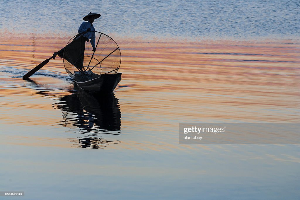 Myanmar: Traditional Fisherman on Inle Lake at Sunset : Stock Photo