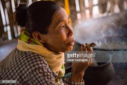 Myanmar Woman Smoking