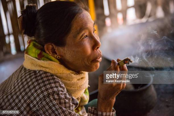 Myanmar Woman Smoking