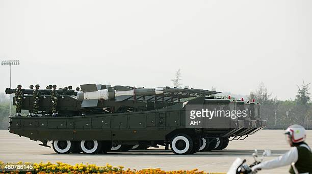 Myanmar's military hardware is paraded during a ceremony to mark the 69th anniversary of Armed Forces Day in Myanmar's capital Naypyidaw on March 27...