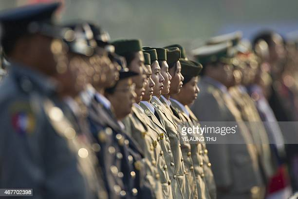 Myanmar's military officers attend a ceremony to mark the 70th anniversary of Armed Forces Day in Myanmar's capital Naypyidaw on March 27 2015 AFP...