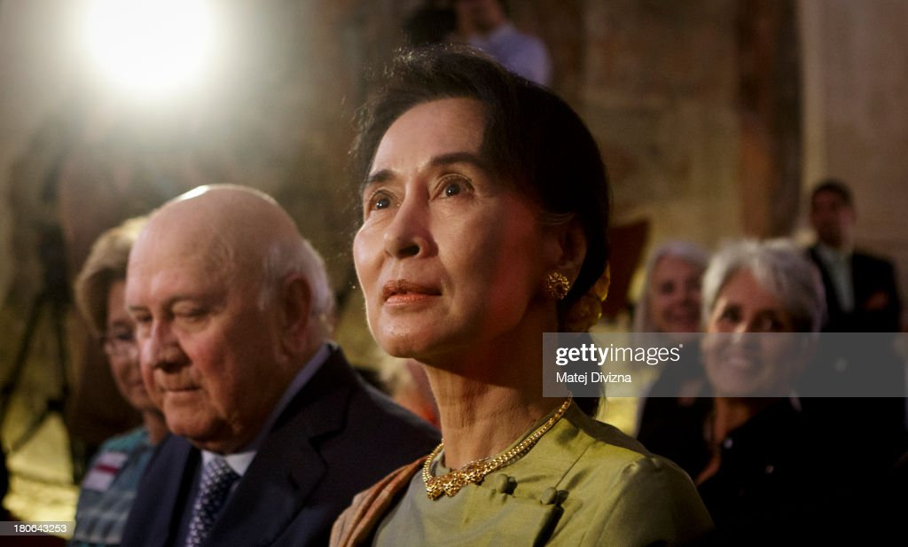 Myanmar's opposition leader and Nobel Peace Prize laureate <a gi-track='captionPersonalityLinkClicked' href=/galleries/search?phrase=Aung+San+Suu+Kyi&family=editorial&specificpeople=214208 ng-click='$event.stopPropagation()'>Aung San Suu Kyi</a> attends the opening ceremony of 17th Forum 2000 Conference on September 15, 2013 in Prague, Czech Republic.