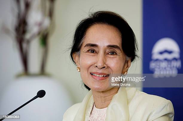 Myanmar's opposition leader and Nobel Peace Prize laureate Aung San Suu Kyi attends a press conference during the 17th Forum 2000 Conference on...