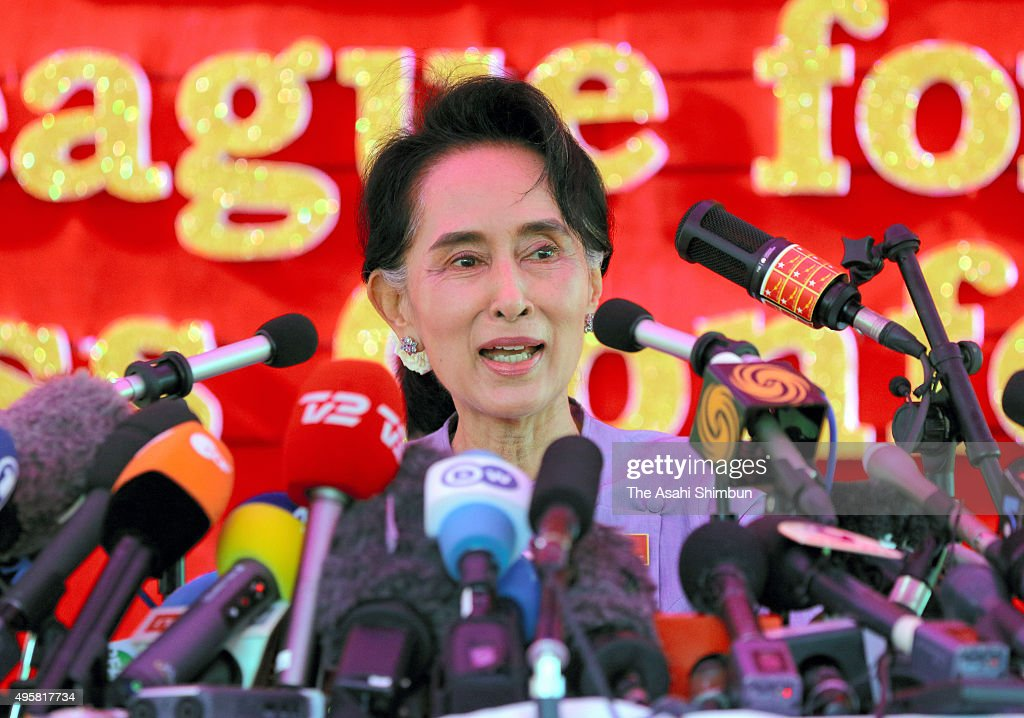 Myanmar's opposition National League for Democracy (NLD) leader <a gi-track='captionPersonalityLinkClicked' href=/galleries/search?phrase=Aung+San+Suu+Kyi&family=editorial&specificpeople=214208 ng-click='$event.stopPropagation()'>Aung San Suu Kyi</a> speaks during a press conference ahead of the general election on November 5, 2015 in Yangon, Myanmar. Myanmar people vote in the first general election after the military junta shifted to civilian rule in 2011, on November 8.