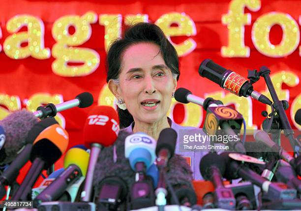 Myanmar's opposition National League for Democracy leader Aung San Suu Kyi speaks during a press conference ahead of the general election on November...