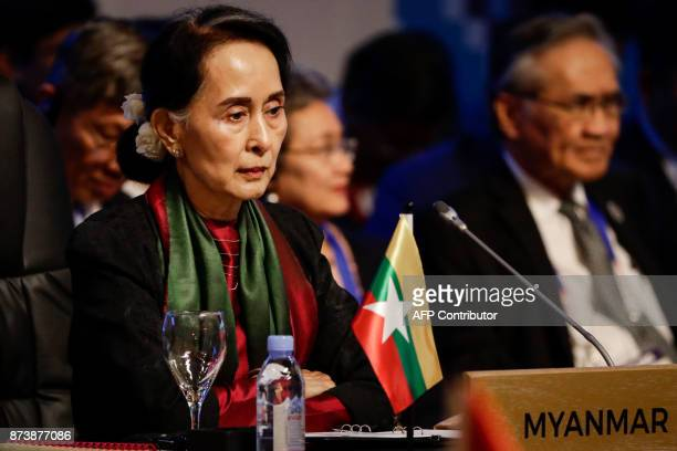 Myanmar's State Councellor and Foreign Minister Aung San Suu Kyi on during the ASEAN Canada 40th Anniversary Commemorative Summit on the sideline of...