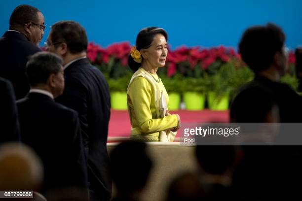 Myanmar's State Counsellor Aung San Suu Kyi arrives for the opening ceremony of the Belt and Road Forum at the China National Convention Center on...