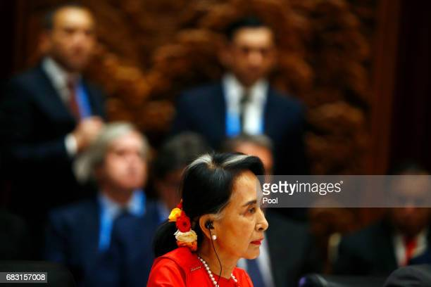Myanmar's State Counsellor Aung San Suu Kyi attends a summit at the Belt and Road Forum on May 15 2017 in Beijing China The Belt and Road Forum...