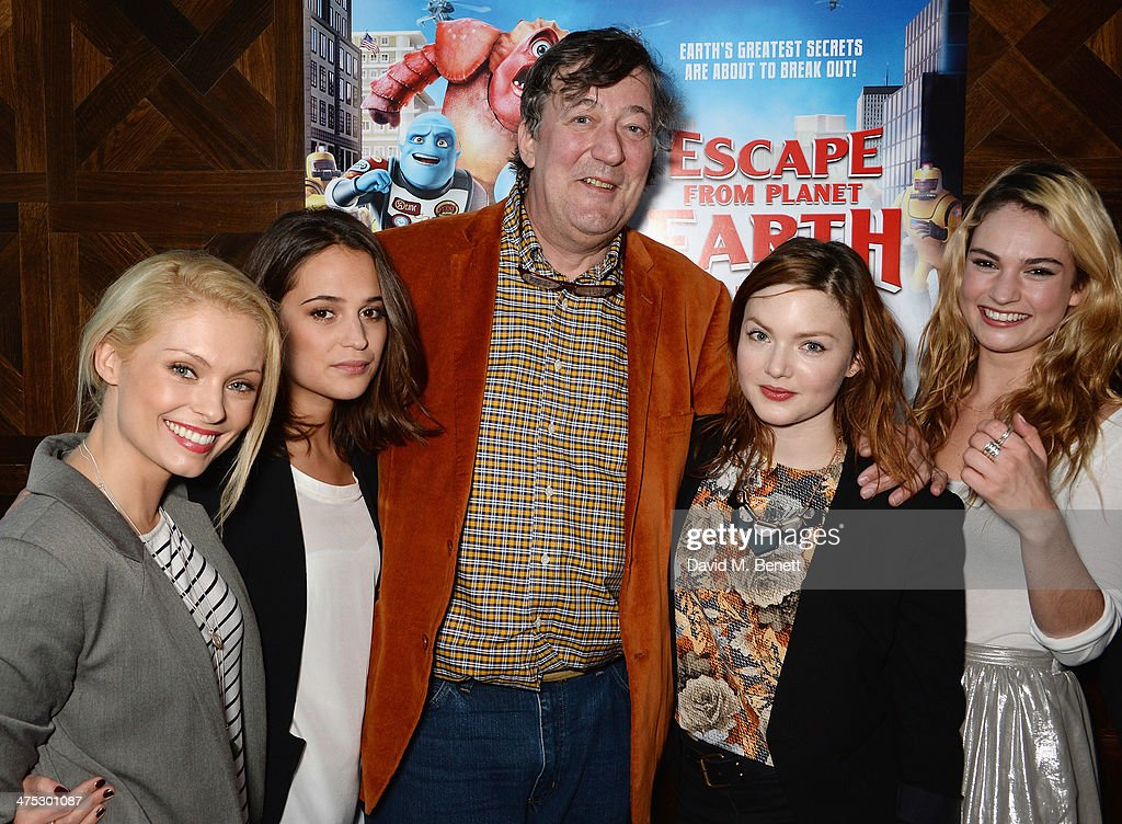 Myanna Buring, Alicia Vikaner, Stephen Fry, Holliday Grainger and Lily Janes attend a VIP screening of Harvey Weinstein's 'Escape From Planet Earth' at The W Hotel on February 27, 2014 in London, England.