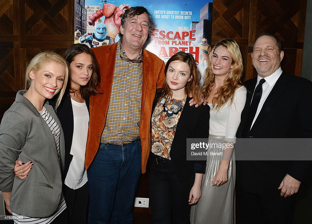 Myanna Buring, Alicia Vikaner, Stephen Fry, Holliday Grainger, Lily Janes and Harvey Weinstein attend a VIP screening of Harvey Weinstein's 'Escape From Planet Earth' at The W Hotel on February 27, 2014 in London, England.