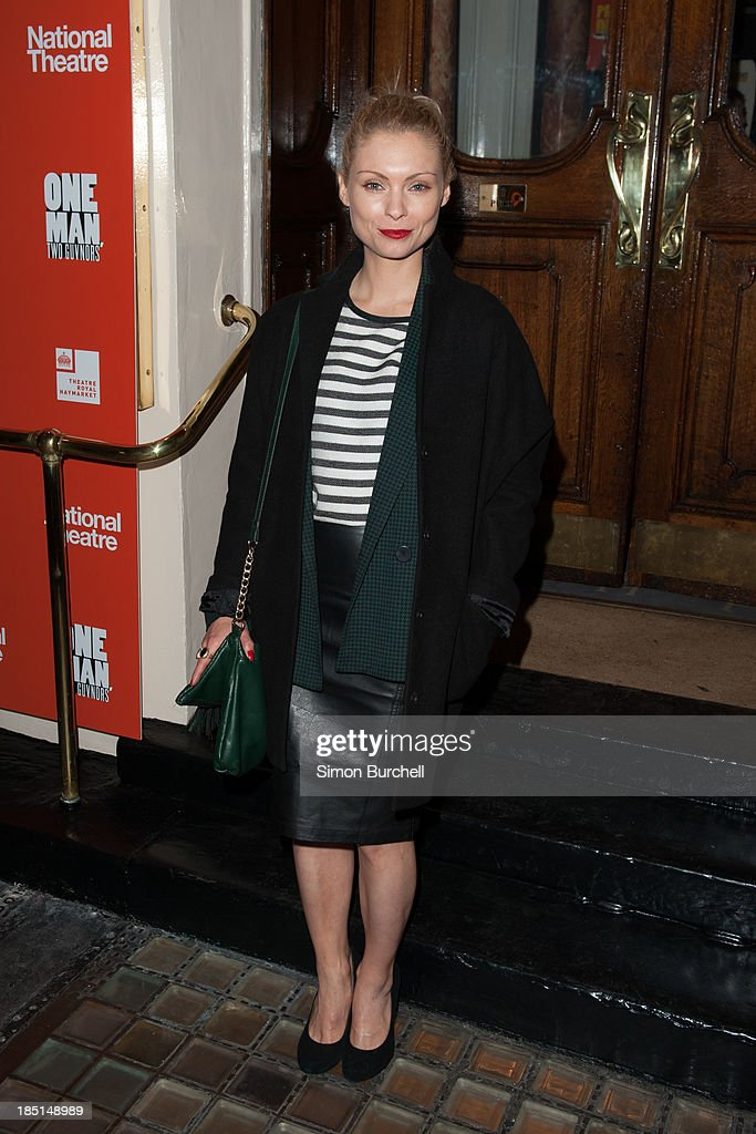 Myanna Buring attends the press night for the new cast of 'One Man, Two Guvnors' at Theatre Royal on October 17, 2013 in London, England.