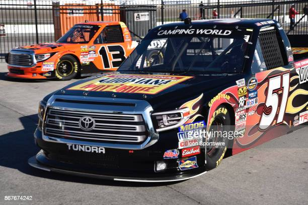 Myatt Snider Louisiana Hot Sauce Toyota and Cody Coughlin Ride TV/JEGS Toyota enter garage area after first practice session during the NASCAR...