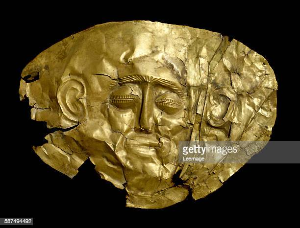 gold funerary mask 16th century BC from the tomb IV of Mycenae 20 cm Archaeological National Museum Athens Greece