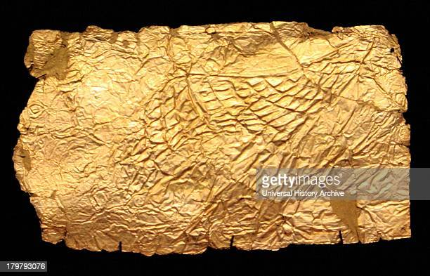 Mycenaean Sheet gold covers for glass vaseshaped plaques Circa 13501200 BC Ancient Greek