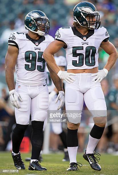 Mychal Kendricks and Kiko Alonso of the Philadelphia Eagles warm up prior to the game against the Baltimore Ravens on August 22 2015 at Lincoln...