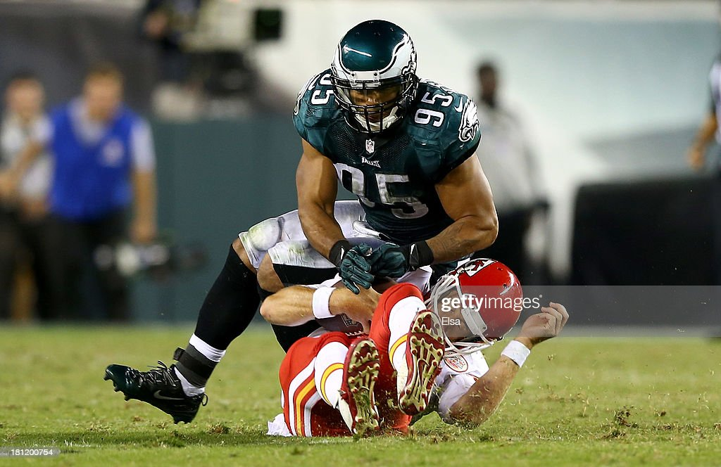 <a gi-track='captionPersonalityLinkClicked' href=/galleries/search?phrase=Mychal+Kendricks&family=editorial&specificpeople=5543514 ng-click='$event.stopPropagation()'>Mychal Kendricks</a> #95 of the Philadelphia Eagles hits Alex Smith #11 of the Kansas City Chiefs in the second quarter at Lincoln Financial Field on September 19, 2013 in Philadelphia, Pennsylvania.