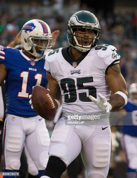 Mychal Kendricks of the Philadelphia Eagles reacts in front of Zay Jones of the Buffalo Bills after an interception in the preseason game at Lincoln...