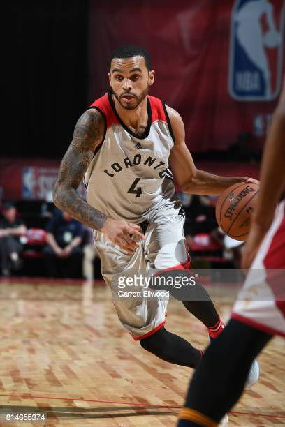 Mychal Mulder of the Toronto Raptors handles the ball against the Cleveland Cavaliers on July 14 2017 at the Thomas Mack Center in Las Vegas Nevada...