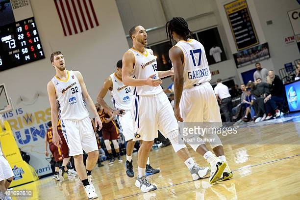 Mychel Thompson and Kiwi Gardner of the Santa Cruz Warriors celebrate against the Canton Charge during the 2015 NBA DLeague Showcase presented by...