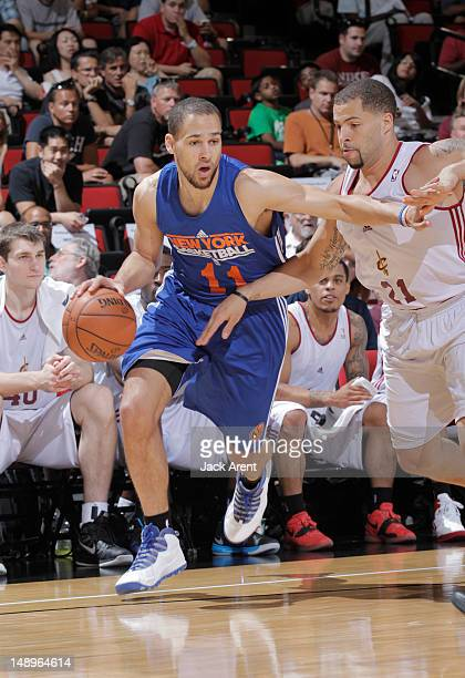 Mychel Thompson of the New York Knicks dribbles during NBA Summer League on July 20 2012 at Cox Pavilion in Las Vegas Nevada NOTE TO USER User...