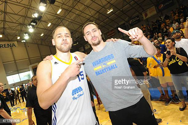 Mychel Thompson of the Santa Cruz Warriors celebrates with Klay Thompson of the Golden State Warriors after winning the NBA DLeague Championship...