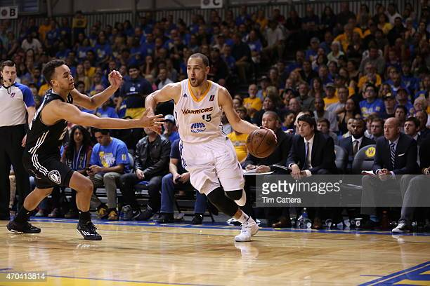 Mychel Thompson of the Santa Cruz Warriors dribbles the ball against the Austin Spurs during the Western Conference Final NBA DLeague game on April...