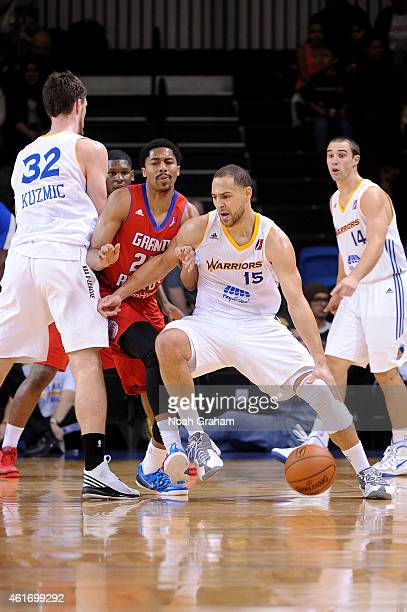 Mychel Thompson of the Santa Cruz Warriors drives against the Grand Rapids Drive during the 2015 NBA DLeague Showcase presented by Samsung at the...