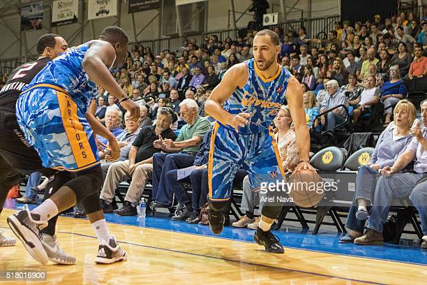 Mychel Thompson of the Santa Cruz Warriors drives to the basket against the Idaho Stampede during an NBA DLeague game on MARCH 24 2016 in Santa Cruz...