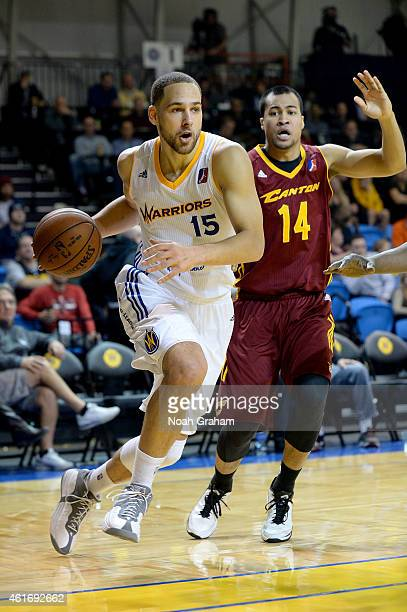 Mychel Thompson of the Santa Cruz Warriors drives to the hoop against the Canton Charge during the 2015 NBA DLeague Showcase presented by Samsung at...