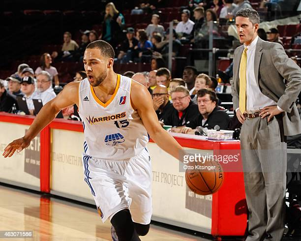 Mychel Thompson of the Santa Cruz Warriors moves the ball during an NBA DLeague game against the Idaho Stampede on February 7 2015 at CenturyLink...