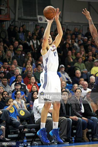 Mychel Thompson of the Santa Cruz Warriors shoots a shot against the Bakersfield Jam on November 30 2013 at Kaiser Permanente Arena in Santa Cruz...