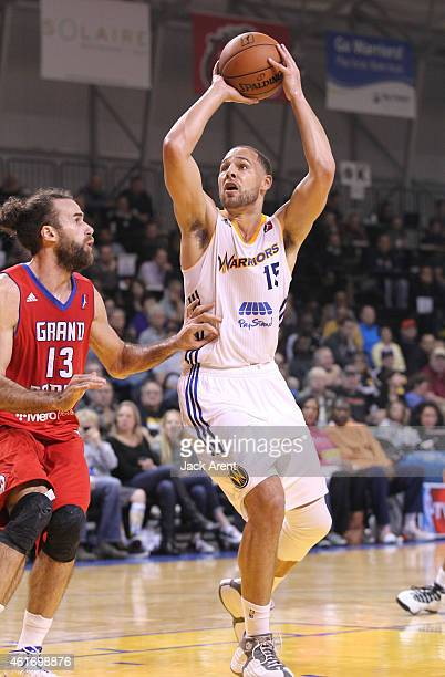 Mychel Thompson of the Santa Cruz Warriors shoots the ball against the Grand Rapids Drive of the during the 2015 NBA DLeague Showcase presented by...