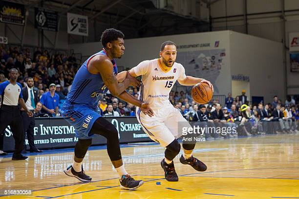 Mychel Thompson of the Santa Cruz Warrors handles the ball against the Oklahoma City Blue during an NBA DLeague game on MARCH 18 2016 in SANTA CRUZ...