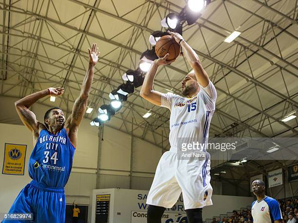 Mychel Thompson of the Santa Cruz Warrors shoots the ball against the Oklahoma City Blue during an NBA DLeague game on MARCH 18 2016 in SANTA CRUZ...