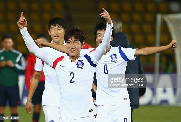 Myeongsu Park of Korea Republic celebrates after they defeated Brazil during the FIFA U17 World Cup Group B match between Brazil and the Korea...