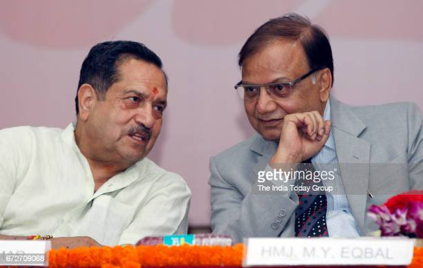 Eqbal and Indresh Kumar during a seminar on Myth and reality of Triple Talaq Ram Mandir and Freedom at Krishna Menon Bhawan in New Delhi