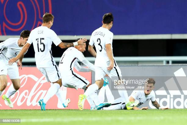Myer Bevan of New Zealand slides in celebration after scoring a goal during the FIFA U20 World Cup Korea Republic 2017 group E match between New...